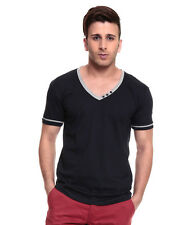 IZINC Navy V-Neck808  Half Sleeves T-Shirt