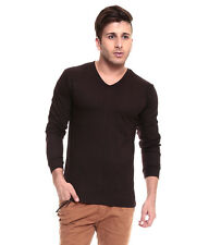 IZINC Brown V-Neck Neck Full Sleeves T-Shirt