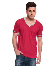 IZINC Red V-Neck808 Neck Half  Sleeves T-Shirt