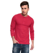 IZINC Red Henley Neck Full Sleeves T-Shirt