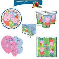 Peppa Pig Party Plates Cups Napkins Balloons Loot Bags Table Cover Banner Foil