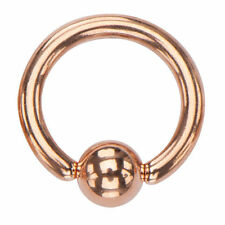Rose Gold Plated Stainless Steel Captive Bead Ring bcr 18g 16g 14g