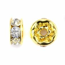 Lot 5 - 20 pieces perle strass intercalaire 10mm rondelle Dore 10 mm