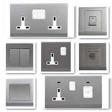 Simplicity Screwless Stylish Grey Silver Light Switches Plug Sockets Cooker Fuse
