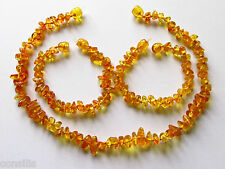 "Genuine Baltic amber teething necklace or anklet bracelet, honey ""nut"" beads"