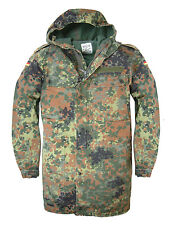 Genuine German Army Issue Hooded Flecktarn Parka Zip Fronted Combat Field Jacket
