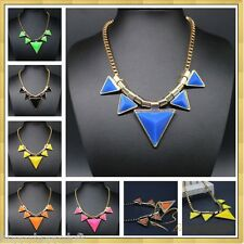 NEON Statement Exaggerated Necklace Emo Fluro Summer Holiday Aztec Gold Fashion