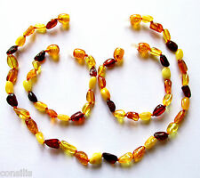 Genuine Baltic amber teething necklace or anklet/bracelet, multi beans beads