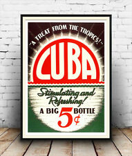 Cuba, Vintage soft drink advertising poster reproduction.