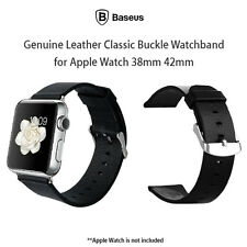 For Apple Watch 38mm 42mm Baseus Genuine Leather Classic Buckle Watchband