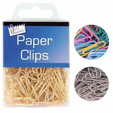 Pack of 120 Paper Clips Hanging Box Metal Home Office School Stationery Steel
