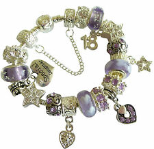 Ladies Girls Charm Bracelet LILAC SILVER Birthday AGE & MESSAGE CHARM Gift