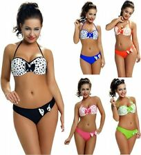 Womens Underwired Balconette Bandeau Bikini Set with Stars & Bows Italian Fabric