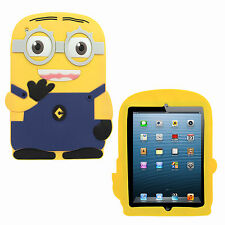 3D Despicable Me Minions Soft Rubber Silicone Back Cover Case for Apple iPad