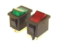 Miniature 6A Illuminated Rocker Switch SPST / DPST Red or Green