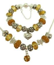 Ladies Charm Bracelet & Necklace Sparkling CITRINE & Silver PERSONALISE Gift Box