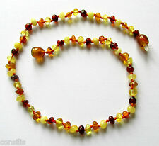 Genuine Baltic amber teething necklace, small multicolour baroque (round) beads
