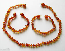 Genuine Baltic amber teething necklace or anklet/bracelet, cognac baroque beads