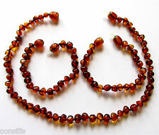 Genuine Baltic amber teething necklace or/and anklet, big cognac baroque beads
