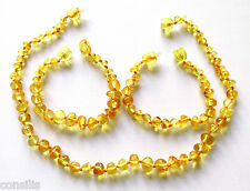 Genuine Baltic amber teething necklace or/and anklet, big lemon baroque beads