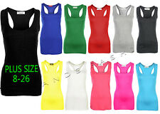 NEW LADIES LONG SLEEVELESS GIRLS RACER BACK MUSCLE VEST TOP PLUS SIZES 8 - 26