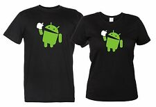 Android Eat Apple Maglietta Divertente T-Shirt Mela Uomo Donna