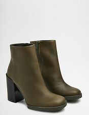 Miista Skye Army Green Leather Heeled Ankle Boots. RRP £180. Various Sizes. BNIB