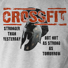 Crossfit Stronger Workout Inspired Shirt WOD Fitness Strength Sport Grey Tee