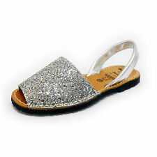 Glitter Silver Bling Avarcas Menorquinas Ladies Leather Flat Open Toed Sandal