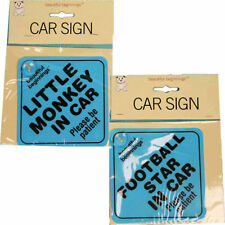 New Beautiful Beginnings Car Sign Baby Child Football Star Monkey In Car Warning