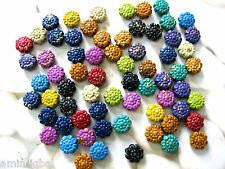 100 Perline ,Fiori,multi colorata misto, ca.8mm,Plastica (A52)