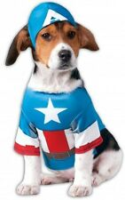 Pet Dog Cat Captain America Super Hero Halloween Fancy Dress Costume Outfit S-XL