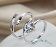 Sterling Silver Matching Gem Forever Love Couple Lovers Open Engagement Ring SET