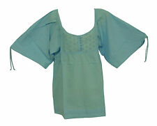 NEW! Blue Floral Button Chest Cotton Collarless Short Sleeve Blouse Top Size 10