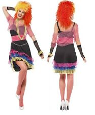 Ladies Sexy 1980s 80s Neon Fun Girl Pop Star Icon Fancy Dress Costume Outfit