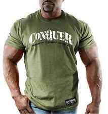 Monsta Clothing Combat Bodybuilding Gym Conquer Graphic Ultra Soft T Shirt Mens