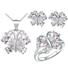 Butterfly Amethyst Gem Stone Set Lady's Ring Earrings Necklace White Gold Filled