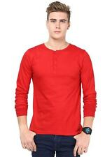 INKOVY Red Colour Cotton Fabric T-Shirt For Men (INKOVY-HENLEY-707-FULL-RED)