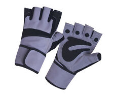 REAL LEATHER GYM FITNESS GLOVES WEIGHT LIFTING WORK OUT WITH STRAP