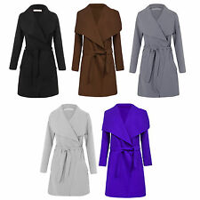 Womens Plus Size Italian Long Waterfall Belted Long Sleeve Coat Jacket 16 to 24