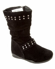GIRLS BLACK STUDDED MID CALF SLOUCH WINTER BOOTS WITH SIDE ZIP UK SIZE 4-10