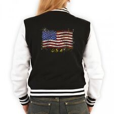Damen College Jacke - USA Amerikanische Flagge - Lady Retro Trainingsjacke Motiv
