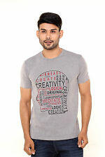Fleximaa Printed Round Neck T-Shirt Grey Color - 100% Cotton - Best Price !