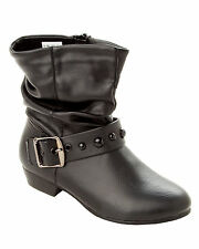 GIRLS CUTE BLACK STUDDED CASUAL FASHION ANKLE BOOTS WITH SIDE ZIP UK SIZE 10-5