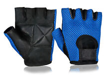 UNISEX WEIGHT LIFTING GYM BODYBUILDING FITNESS LEATHER GLOVES CYCLING MOTORBIKE