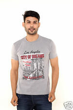 Fleximaa Printed Round Neck T-Shirt Grey Milange Color - 100% Cotton - Grab !!