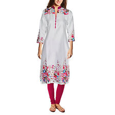 Dakshcraft Women's White Base Dark Pink Floral Print Long Cotton Kurti