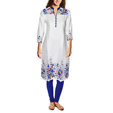 Dakshcraft Women's White Base Blue Floral Print Long Cotton Kurti