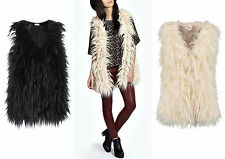 New Ladies Faux Fur  Sleeveless Mongolian Waistcoat Gilet Coat Outerwear Jacket
