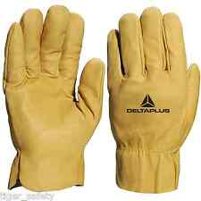 x2 Pairs Delta Plus Venitex FBH60 Yellow Water Repellent Cowhide Quality Gloves